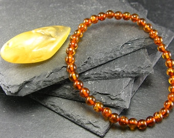 Cognac Baltic Amber Genuine Bracelet ~ 7 Inches  ~ 5mm Round Beads