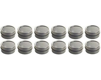 Silver Metal Steel Tin Flat Container with Tight Sealed Clear Lid - 0.25 (12 pack)***FREE SHIPPING***