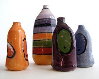 Stripe and spot ceramic multi-coloured 4 bottle series