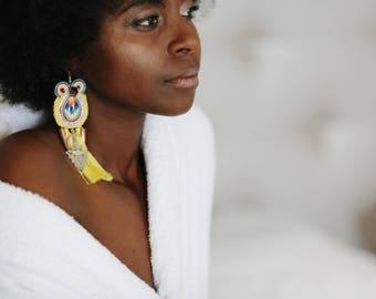 tribal yellow tassel statement mono earring  . on trend spike silk  fibula jewellery  , gift for boho friend . daughter birthday