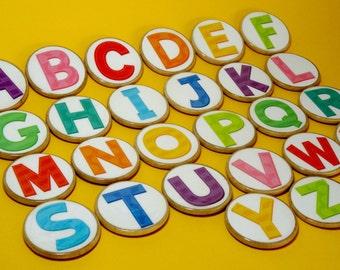 Wooden magnetic Uppercase Alphabet discs, alphabet magnets, magnetic letters, wooden alphabet magnets, home school, teacher resource
