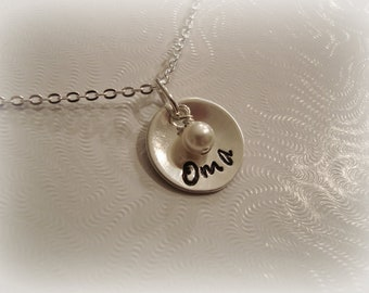 Oma, Nana, Mom, Sterling Silver Necklace, w/Pearl or Birthstone, Oma Necklace, Nana Necklace, Mema, Nonna, Mother necklace, Oma Jewelry