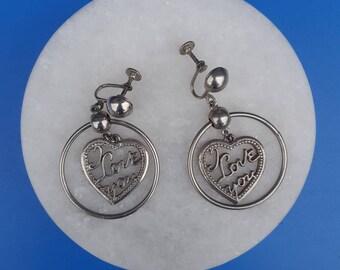 "Vintage ""I Love You"" script  screw post dangle earrings"