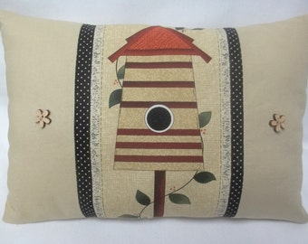 Birdhouse Decorative  Pillow, Spring Summer Decor, Climbing Vine, Outdoor, Nature