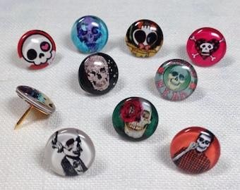 Decorative Push Pins, Drawing Pins, Skull Push Pins, Cork Board Pins, Skull  Drawing Pins, Map Pins, Goth Push Pins,  Teachers Gift