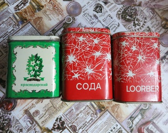 Metal tin boxes Advertising Box Vintage cookie box Vintage tea box Small box Vintage tin box Tin Container Collectible Tin Box Made in USSR