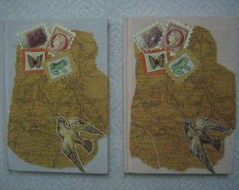 Set of 2 Blank NOTEBOOKS with partially HANDMADE CLOTH covers