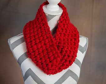 Deep Red Super Chunky Crochet Cowl