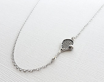 Tennis Racket Necklace in Sterling Silver, Tennis Charm Necklace, Tennis Team Gift