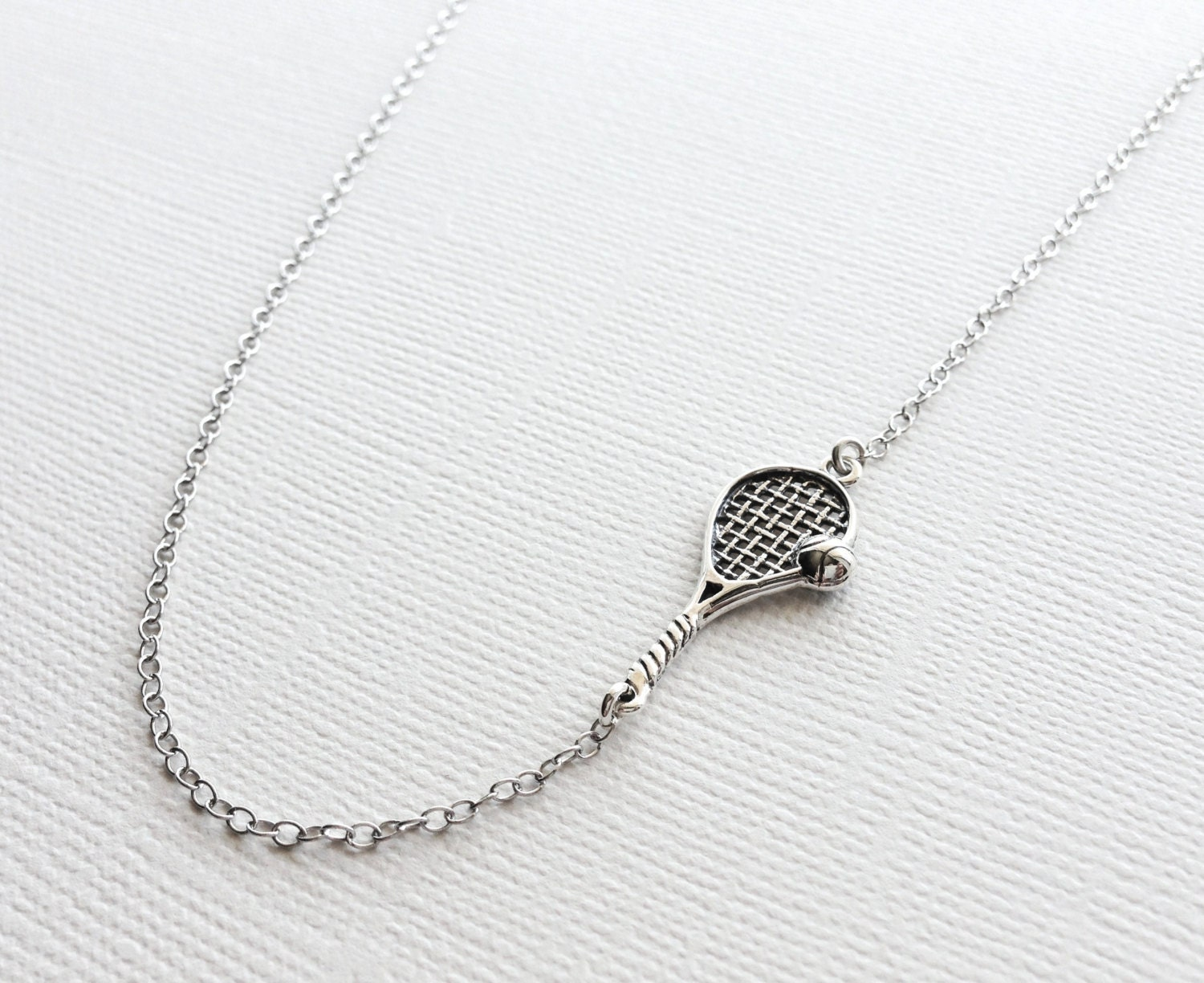 Tennis racket necklace in sterling silver tennis charm zoom mozeypictures Gallery