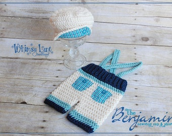 Newborn Photo Prop -  Newsboy Cap and Pants Set - Driver Cap - Suspender Pants - Shortie Pants - Baby Boy - Newborn Boy