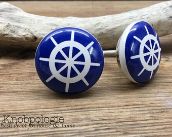 CLEARANCE - Discounted Slightly Imperfect SET OF 2 Blue and White Ship's Wheel Captains Wheel Nautical Boat Drawer Pull