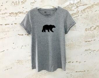 Bear T-Shirt for Women, Bear Shirt, Womens Tees, Gray Tshirt, Ladies Top, T-Shirt with Bear, Shirt with Bear, Gift for Mom