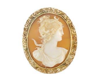 Victorian 10K Gold Diana / Artemis Shell Cameo Pendant & Brooch