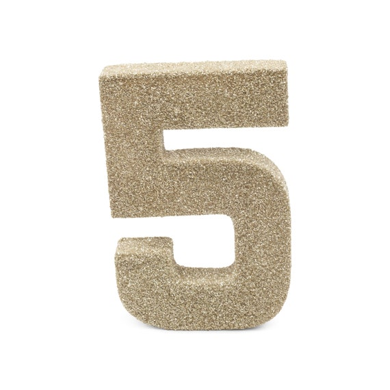 """8"""" Glitter Number 5, Paper Mache Number 5 Giant White Gold Number Centerpiece Number Five Table Letters Large Decorative White Gold Birthday"""
