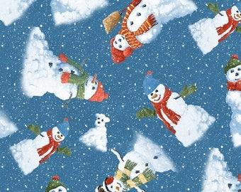Christmas Fabric - Winter's Eve Country Snowman Toss Dark Blue - Wilmington YARD