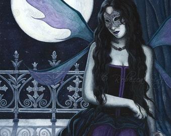 Midnight Masquerade PRINT Gothic Fairy Fantasy Art Moon Moonlight Corset Wings Mask 3 SIZES