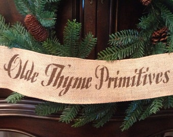 """Primitive 4"""" Wired Burlap Ribbon Banner Olde Thyme Primitives"""