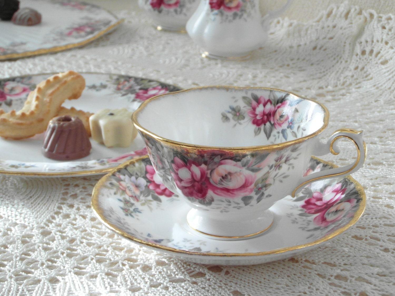 queen anne summer rose teeservice trios englisches porzellan. Black Bedroom Furniture Sets. Home Design Ideas