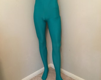 Men's Footed Tights in Jade ~ Aaron ~ Ready to Ship