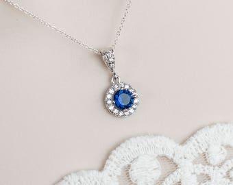 Blue Sapphire Necklace,Bridal Sapphire Bridal Necklace, CZ Blue Sapphire Necklace, CZ Blue Sapphire Necklace,Something Blue  Bridal Necklace