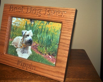 Best Dog Ever hardwood carved picture frame with dog's name carved below the photo