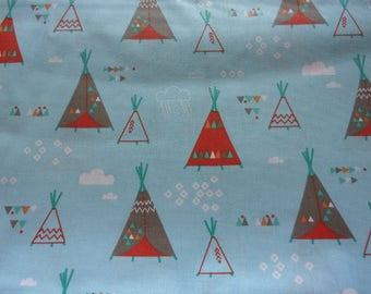 50 x 70 cm Blue teepee fabric coupon