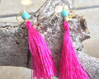 Pink Tassel Earrings