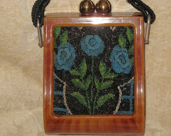 Rare Hand Made Beaded Floral and Tortoise Shell Purse/Bag early 1930's