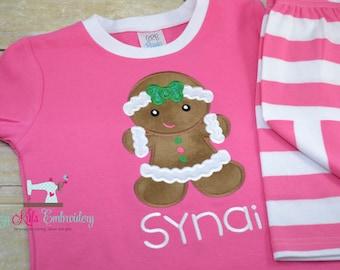 Christmas pajamas, Christmas Pajamas for Children, Kids Christmas Pajamas, Girl Christmas Pajamas, Gingerbread Applique Embroidery