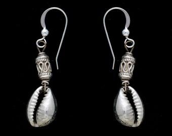 Sterling Silver Cowrie Shell Earrings