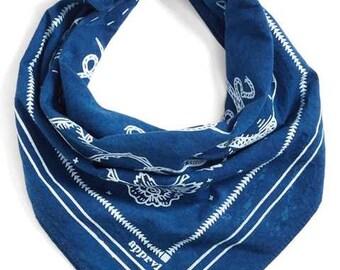 Indigo Blue Bandana - hand dyed