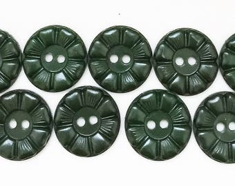 nos vintage hunter green buttons with abstract flower design--matching lot of 11