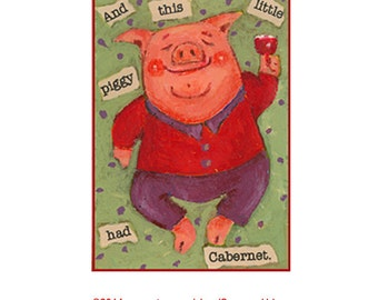 Whimsical ACEO PRINT Pig Illustration, Artist Trading Card Art for Wine Lover