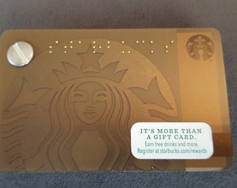Starbucks Upcycled Refillable Giftcard Notebook - 2015 Mermaid Siren Brown/Copper/Gold Braille