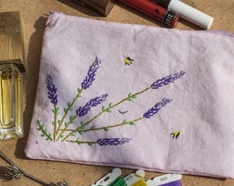 Cosmetic bag - Lavender Flower, Floral Hand Embroidered Zipper Pouch,