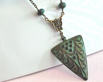Art Deco Style Necklace - Patina Jewelry, Tribal Necklace, Verdigris, African Turquoise