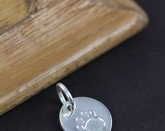Paw Print Charm, Small Dog Cat Paw Print Pendant, 925 Sterling Silver