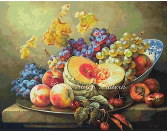 Gabor Toth Still Life Counted Cross Stitch Patterns Embroidery Stitching Scheme Needlepoint Charts Xstitch Instant Download Digital PDF