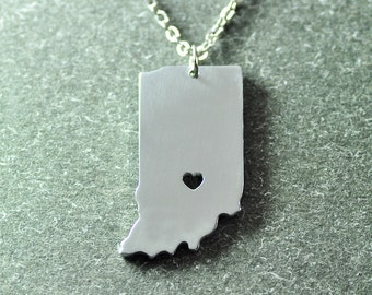 Indiana state necklace in state necklace indiana state bar free shipping i heart indiana necklace indiana pendant state necklace state charm aloadofball Gallery