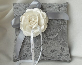 Wedding ring pillow. Ring Bearer Pillow. Silver Lace Ring Pillow. Ivory Flower Accent