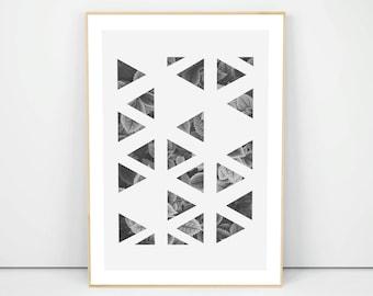 Abstract Geometric Print, Triangles Poster, Wall Decor Gift, Minimalist Wall Decor, Wall Art, Living Room Decor, Housewarming Gift, A4 A3 A2