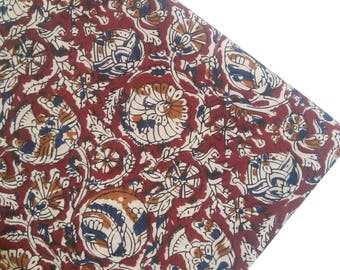 3 Yards Red Floral Cotton Fabric, Red Floral Fabric, Cotton Quilting Fabric, Indian Cotton Fabric, Sewing Fabric, Dressmaking Fabric