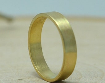 14k Gold Mens Wedding Band - 4mm Flat Wedding Ring in 14K Yellow Recycled Gold Brushed or Hammered Finish by Gioielli Designs