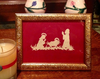 "PAPERCUT Nativity Family, Handmade Original Paper Cutting Scherenschnitte, Antiqued Parchment, fits 5x7"" frame"