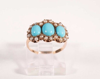 Vintage 14K Yellow Gold Turquoise and Seed Pearls Ring, size 3