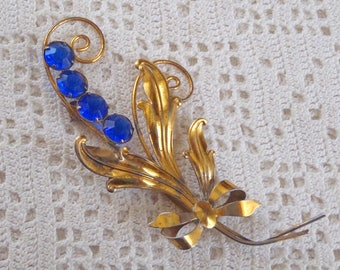 Vintage Brooch Blue Rhinestones Gold Wash Sterling Silver