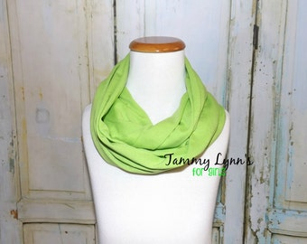 GIRLS Apple Green Cotton Jersey Knit Infinity Scarf Photos Girls Accessories