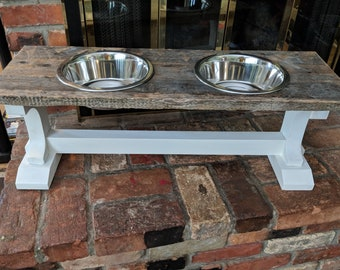 Dog bowl stand,  pallet wood,  rustic,  pet bowls,  feeders