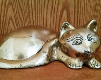 Vintage Brass Cat Figurine, Made In India